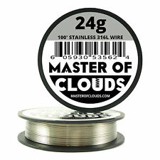 SS 316L - 100 ft. 24 Gauge AWG Stainless Steel Resistance Wire 0.51 mm 24g 100'