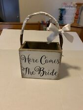 Here Comes the Bride Wedding Flower Girl Ring Bearer Wood Box Basket ~ Rustic
