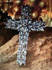 8.18 ctw Tanzanite Cross Pendant Sterling Silver Necklace W/Sterling Silver Chai