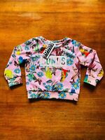 Bonds Kids Digi Sweats Pullover Blue Pink Parrots Floral Jumper Size 2 BNWT