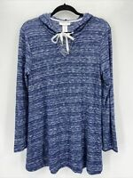 LaBlanca Heathered Blue V Neck Swim Cover Up Hoodie Tunic Small