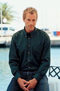 Jerzees 910M Plain BLACK WHITE Cotton Twill Long Sleeve Button Collar Shirt