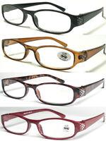 L197 Classic Ladies Plastic Reading Glasses Diamante Detailed Style/Lightweight^