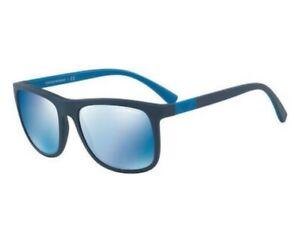 EMPORIO ARMANI Authentic Sunglasses Men EA4079 5504/55 Matte Blue/Blue Mirrored