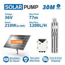 """3"""" DC Screw Solar Bore Pump Submersible Well 36V 210W Complete Kits + 280W Panel"""