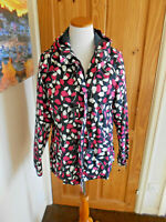 Ladies Maine Bright Leaf Print Rain coat, Shower Resistant Size 14.