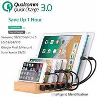 QC 3.0 Quick Charging Station,60W 12A 6 Port Docking Station Desk Organizer GIFT