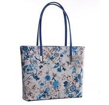 Women PU Leather Blue Floral Handbag Shoulder Bag Lady Flower Patten Tote Purse
