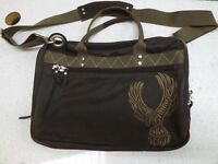 Fossil Brown Canvas and Leather Brief Case Laptop Messenger Bag Lots of Storage