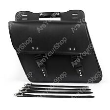 Motorcycle Saddle Side Leather Bag Storage Tool Pouch Black For Harley