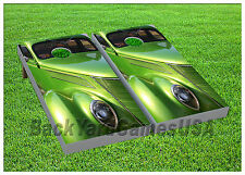 CORNHOLE BEANBAG TOSS GAME w Bags Game Boards Retro Car Motor Racing Set 978