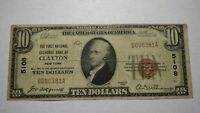 $10 1929 Clayton New York NY National Currency Bank Note Bill Ch. #5108 Fine