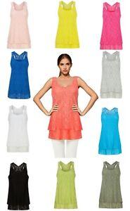 Ladies Women's Vest Top Lagenlook Top Italian Cotton Womens Girls Loose Fit Lace