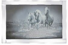3 Galloping Horses on Mirrored Frame 100x60cm