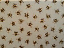 TEX EX ORIGINAL BEE SWARM LINEN BUMBLEBEE INSECT UK PRINTED CURTAIN FABRIC