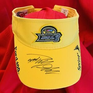 NASCAR . 2005 CHASE NEXTEL CUP . Signed . Yellow Visor Hat . NEW