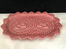Oblong Pink Ceramic Easter Bunny Rabbit Platter PlateTray Dish - Portugal (U86)