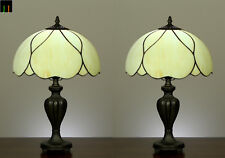 Pair of 2 JT Tiffany Modem Stained Glass Bedside Side Table lamp Light