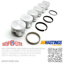 """186+040"""" FLAT TOP PISTON & MOLY RING SET 6 CYL RED MOTOR [HOLDEN HR-HK-HT-HG]"""