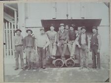 New Almaden Quicksilver Mines Photo Nine Miners Ore Cart ca. 1880s Rare Photo