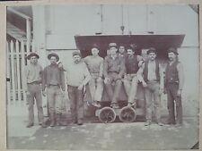 New Almaden Quicksilver Mines Photo Nine Miners Ore Cart ca. 1880s Rare Photo