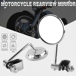 """Motorcycle Cafe Racer Rearview Side Mirrors Round Chrome 7/8"""" 1"""" Handle Bar"""