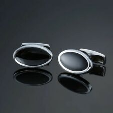 Business and Wedding for Suit Shirt Silver Black Oval CuffLinks Formal Wear