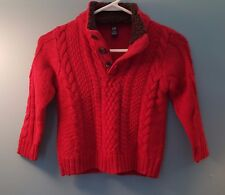 GAP Kids Cable Knit Faux Fur Lined Collar Boys Red Pullover Sweater