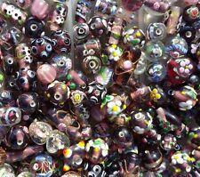 LAMPWORK Glass Bead Mix 50g Purple Mix Jewellery Making