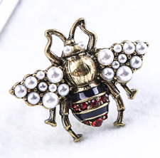 NEW Bee Insect Pearl Enamel Crystal Antique Gold Gucci Style Ring Size UK P  7.5