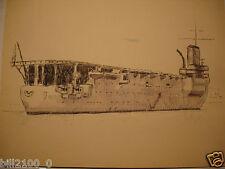 """1940 .dessin à la plume rehaussé à l'aquarelle . le porte-avions """" le Bearn """" ."""