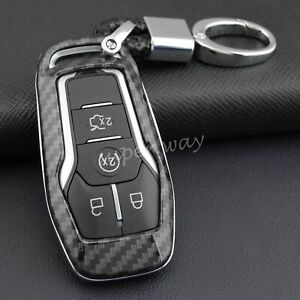 FOR Ford 2015-2019 Carbon Fiber Hard Smart Key Fob Chain Shell Cover Accessories