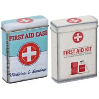 2 x Medicine Storage Box Tin Large Metal Case First Aid Bandage Plaster Storage