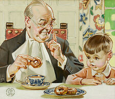 Oil painting Portraits Grandfather and grandson tea time - Coffee perks you up