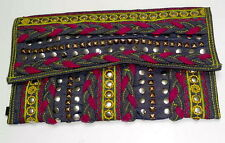 Ladies Handloom Denim Clutch Bag with Multicoloured Embroidery and stud detail