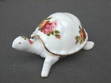 Vintage Cottage Rose Bone China Tortoise Trinket  Dish