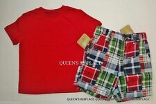New Crazy 8 Boys lot Set Outfit size 12-18 Months red T- Shirt & Plaid shorts