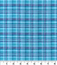 Flannel Fabric AQUA PLAID Pattern Shades of Blue 3 yds X 42 in 100% Cotton