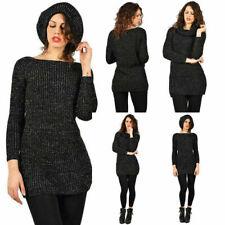 Maglione Lungo da Donna invernale Maxi Pull Pullover Maxipull nero manica lunga