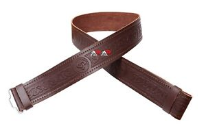 Scottish Leather Kilt Belt Highland Brown without Buckle Sizes Small to 2XL AAR