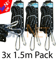 3x HEAVY DUTY 150cm BUNGEE STRAPS CORDS SET WITH CARABINER HOOK ELASTIC ROPE NEW