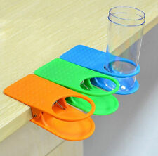 NEW Home Office Drink Cup Coffee Holder Water Stand Clip Desk Table Multicolour
