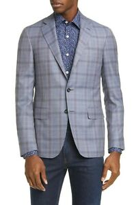 Canali Men's Grey Check Wool Kei Blazer Sport Coat Jacket IT 56R / US 46R / XXL