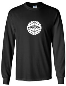 Pan Am White Logo American World Airways Airline Black Long Sleeve T-Shirt