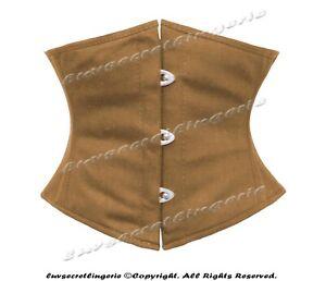 18 Double Steel Boned Waist Training Cotton Underbust Shaper Waspie Corset