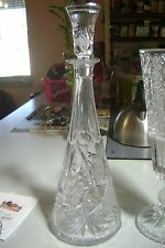"Vintage 16"" Tall Bohemian Pineapple Waffle Starburst Cut Crystal Decanter"