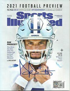Dak Prescott Autographed Sports Illustrated 2021 FB Preview ! Cowboys ! BAS W
