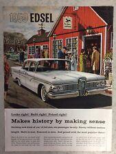 New ListingVintage 1959 Edsel Automobile Print Ad : Edsel Div Ford Motor Company 14x10 1/2