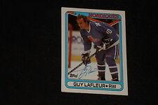 HOF GUY LaFLEUR 1990-91 TOPPS SIGNED AUTOGRAPHED CARD #142 NORDIQUES