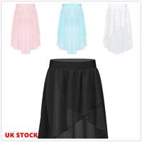 UK Kids Girls Tutu Skirts Wrap Chiffon Ballet Dance Dress Gymnastics Performance